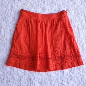 LOFT Solid Orange Pleated A-line Skirt